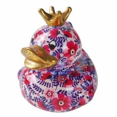 Kinder badeend spaarpot roze/paarse bloemenprint