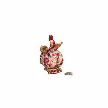 Kinder  Beige kip spaarpot bloemen