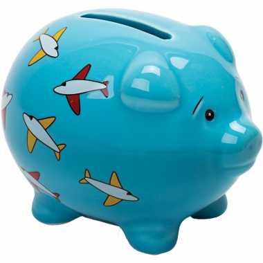 Kinder blauw spaarvarken vliegtuigen spaarpot