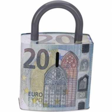 Kinder blauwe spaarpot euro biljet
