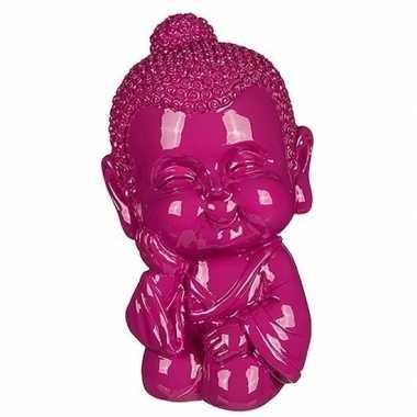 Kinder boeddha spaarpot roze