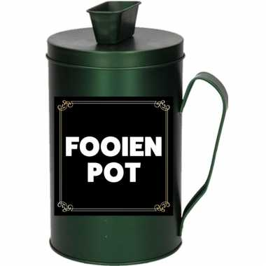 Kinder cadeau/kado fooienpot collectebus groen spaarpot
