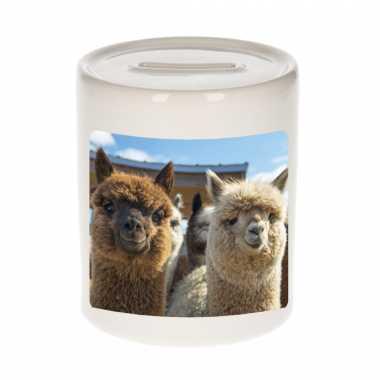 Kinder dieren foto spaarpot alpaca alpacas spaarpotten jongens meisjes