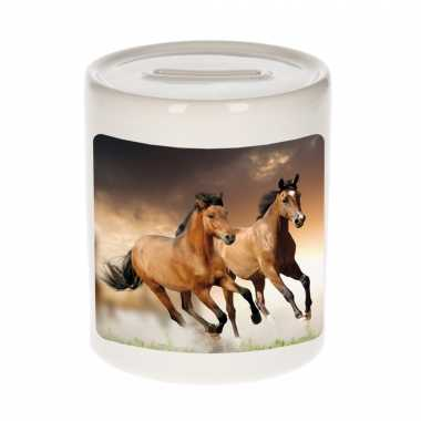 Kinder dieren foto spaarpot bruin paard paarden spaarpotten jongens meisjes