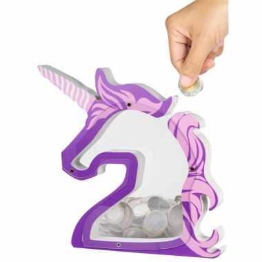 Kinder eenhoorn spaarpot transparant kunststof paars/roze