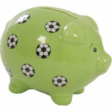 Kinder groen spaarvarken voetballen spaarpot