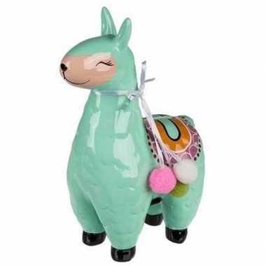 Kinder groene alpaca / lama spaarpot