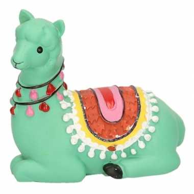 Kinder groene liggende alpaca / lama spaarpot