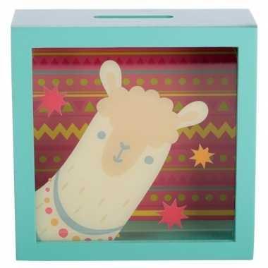 Kinder groene raam spaarpot alpaca/lama