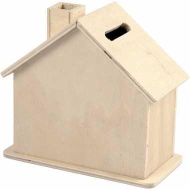Kinder housewarming cadeau houten spaarpot huisje