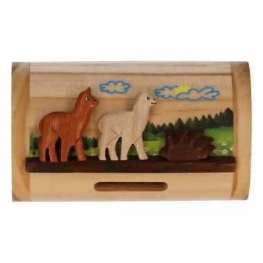 Kinder houten spaarpot alpaca/lama