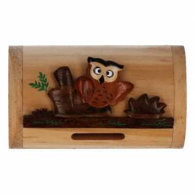 Kinder houten spaarpot uil