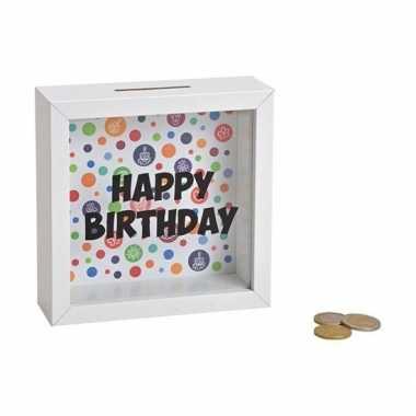 Kinder houten witte spaarpot happy birthday glas