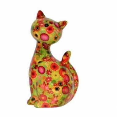 Kinder katjes/poesjes spaarpot groen bloement