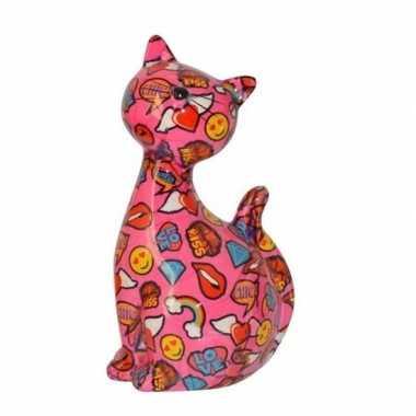 Kinder katjes/poesjes spaarpot roze emojis