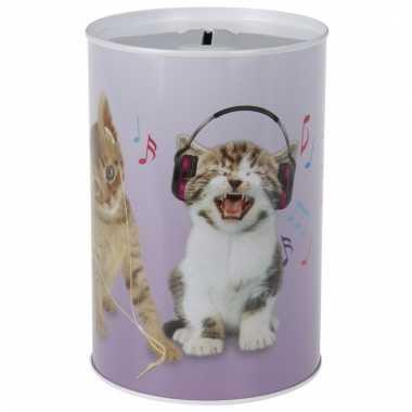 Kinder katten/poezen koptelefoon spaarpot