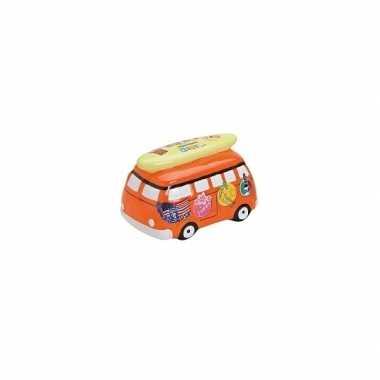 Kinder keramische oranje vakantie bus spaarpot