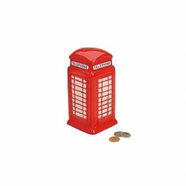 Kinder keramische rode telefoon cel spaarpot