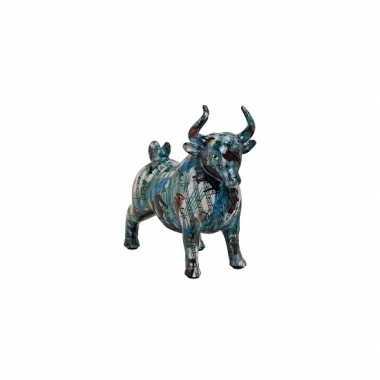 Kinder keramische stier spaarpot blauw