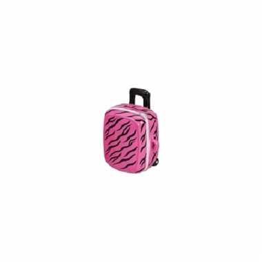Kinder koffer spaarpot roze zwart