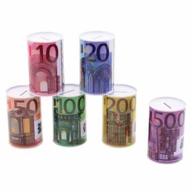 Kinder metalen spaarpot euro biljet