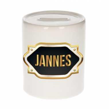 Kinder naam cadeau spaarpot jannes gouden embleem