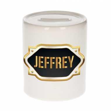 Kinder naam cadeau spaarpot jeffrey gouden embleem