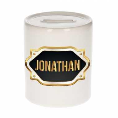 Kinder naam cadeau spaarpot jonathan gouden embleem