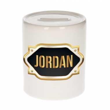 Kinder naam cadeau spaarpot jordan gouden embleem