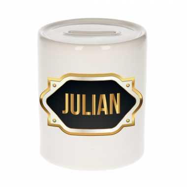 Kinder naam cadeau spaarpot julian gouden embleem