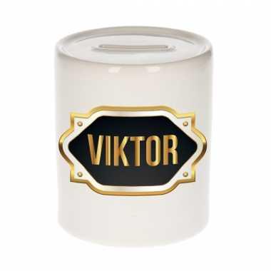 Kinder naam cadeau spaarpot viktor gouden embleem
