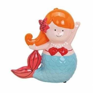 Kinder oranje/blauwe zeemeermin spaarpot