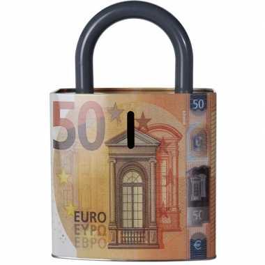 Kinder oranje spaarpot euro biljet
