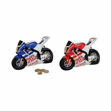 Kinder  Race motor spaarpot blauw