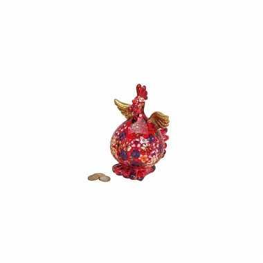 Kinder  Rode kip spaarpot bloemen