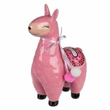 Kinder roze alpaca / lama spaarpot