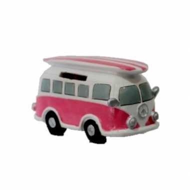 Kinder roze hippie spaarpot volkswagen busje surfboard