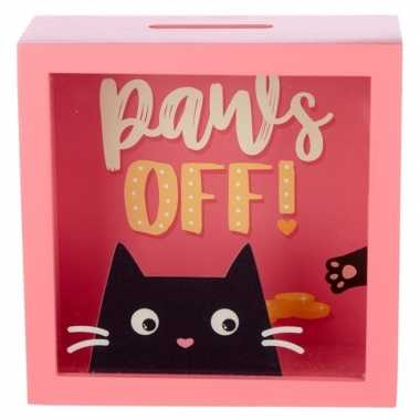 Kinder roze raam spaarpot zwarte kat/poes