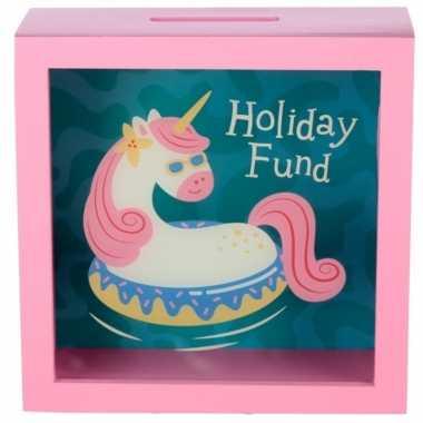 Kinder roze vakantie fonds spaarpot eenhoorn