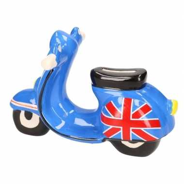 Kinder scooter spaarpot blauw