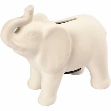Kinder spaarolifant klei wit zelf inkleurbaar spaarpot