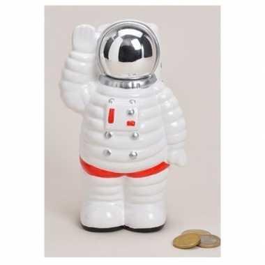 Kinder spaarpot astronaut wit keramiek