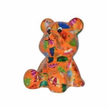 Kinder spaarpot beer oranje paraplu print