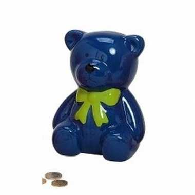 Kinder spaarpot blauwe teddybeer