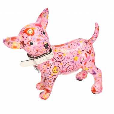 Kinder spaarpot chihuahua hond lichtroze bloemen/hartjes/retro print