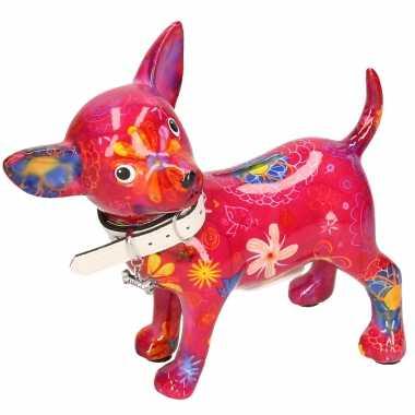 Kinder spaarpot chihuahua hond paars/roze bloemen print