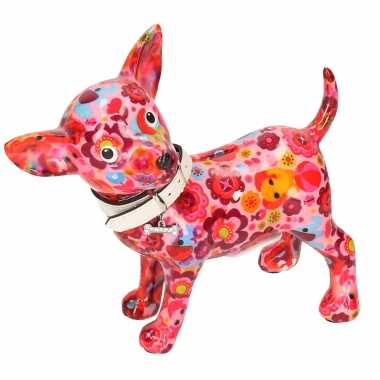 Kinder spaarpot chihuahua hond roze olifant bloemen