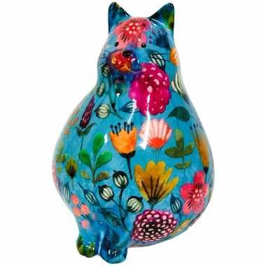 Kinder spaarpot dikke kat/poes blauw bloemetjes