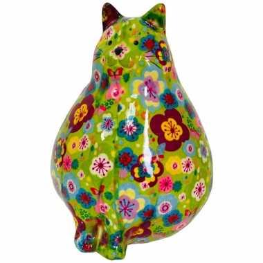 Kinder spaarpot dikke kat/poes groen bloemetjes