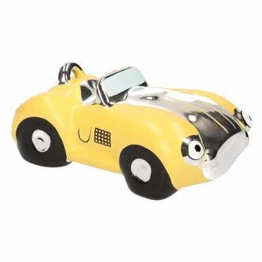 Kinder spaarpot gele sportauto cabriolet